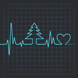 Heartbeat make christmas symbols Royalty Free Stock Photos