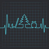 Heartbeat make christmas symbols Royalty Free Stock Image