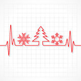 Heartbeat make Christmas symbols. Stock vector Royalty Free Stock Images