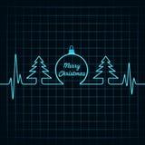 Heartbeat make Christmas symbols Royalty Free Stock Image