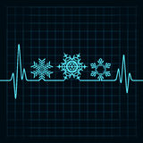 Heartbeat make Christmas symbols Royalty Free Stock Photos