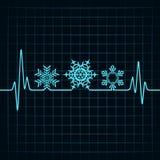 Heartbeat make Christmas symbols. Stock vector Royalty Free Illustration