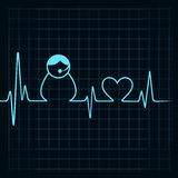 Heartbeat make a contact us icon and heart symbol Royalty Free Stock Photos