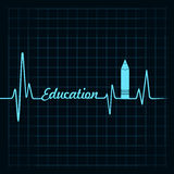 Heartbeat make a education symbol and text Royalty Free Stock Photography