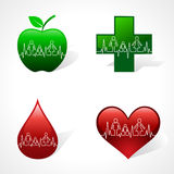 Heartbeat make family icon inside different medica Royalty Free Stock Images