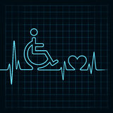 Heartbeat make handicapped and heart symbol Stock Photography
