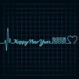 Heartbeat make happy new year text and heart symbol. Illustration of heartbeat make happy new year text and heart symbol Stock Photos