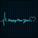 heartbeat make happy new year text and heart symbol Stock Photo