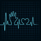 Heartbeat make helping hand and heart Royalty Free Stock Photos