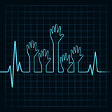 Heartbeat make helping and unity hand Royalty Free Stock Photography