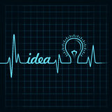 Heartbeat make idea word and light-bulb Stock Photography