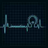 Heartbeat make innovation word and light-bulb Royalty Free Stock Image