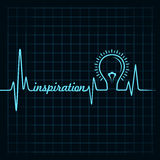 Heartbeat make inspiration word and light-bulb Royalty Free Stock Photo