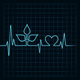 Heartbeat make leaf and heart icon Royalty Free Stock Images