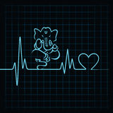 Heartbeat make a lord ganesha and heart symbol Royalty Free Stock Images