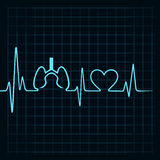 Heartbeat make lungs and heart symbol Stock Image