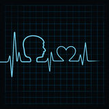 Heartbeat make male face and heart symbol Royalty Free Stock Photo
