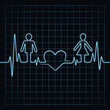 Heartbeat make male,female and heart symbol Stock Images