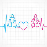 Heartbeat make male,female and heart symbol Royalty Free Stock Image