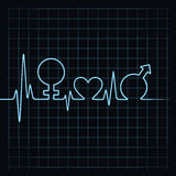 Heartbeat make male,female and heart symbol at lea Stock Photos