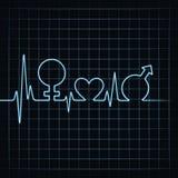 Heartbeat make male,female and heart symbol at lea Stock Photos