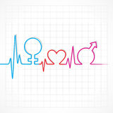 Heartbeat make male,female and heart symbol at lea Stock Photography