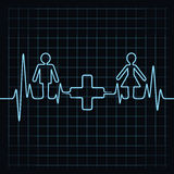 Heartbeat make male,female and medical symbol Stock Photo