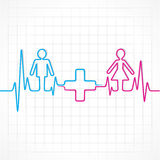 Heartbeat make male,female and medical symbol Royalty Free Stock Photography