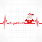 Heartbeat make Merry Christmas text and Santa Royalty Free Stock Photo