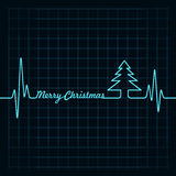 Heartbeat make Merry Christmas text and tree Royalty Free Stock Photo