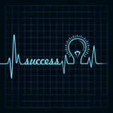 Heartbeat make success word and light-bulb Stock Image