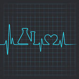 Heartbeat make testtube and heart symbol. Illustration of Heartbeat make testtube and heart symbol Royalty Free Stock Photography