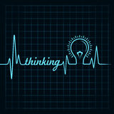 Heartbeat make thinking  word and light-bulb Royalty Free Stock Images