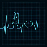 Heartbeat make victory hand and heart Royalty Free Stock Images