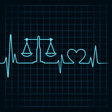 Heartbeat make a weighing machine and heart symbol Stock Images