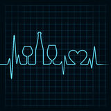 Heartbeat make wine glasses,bottle and  heart symb Stock Images