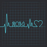 Heartbeat make 2014 word and heart. Illustration of heartbeat make 2014 word and heart vector illustration
