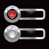 Heartbeat on metal banners Royalty Free Stock Photos