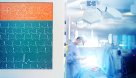 Heartbeat monitoring during surgical operation Stock Photo