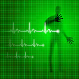 Heartbeat. Neon green medical background with human silhouette and cardiogram line Stock Photos