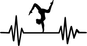 Floor exercise heartbeat line. Heartbeat pulse line with acrobat doing a floor exercise Royalty Free Stock Image