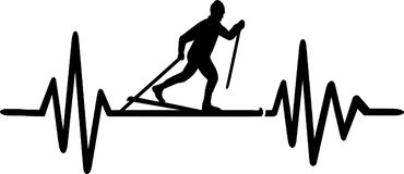 Cross country skiing heartbeat line german. Heartbeat pulse line with cross country skier and german word Royalty Free Stock Photos