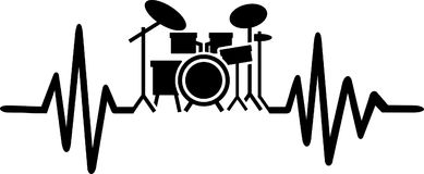 Drummer heartbeat line with drums. Heartbeat pulse line drummer with drums Stock Photo