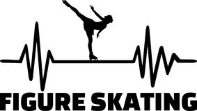 Figure skating heartbeat pulse. Heartbeat pulse line with female figure skater on ice Stock Image