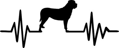 Mastiff heartbeat silhouette. Heartbeat pulse line with mastiff dog silhouette Royalty Free Stock Photos