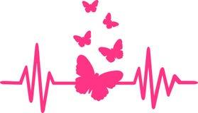 Butterfly heartbeat line with butterfly swarm