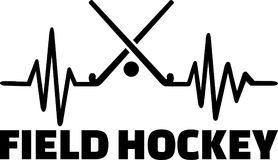 Field hockey heartbeat pulse. Heartbeat pulse line with two crossed hockey sticks and a ball Royalty Free Stock Photo