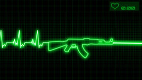 Heartbeat and rifle royalty free illustration