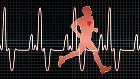 Heartbeat and running man Stock Photography