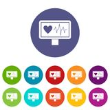 Heartbeat set icons Stock Photography